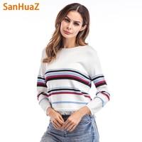 SanHuaZ Brand 2017 Winter Autumn Women S Sweaters Casual O Neck Long Sleeve Striped Tassel Women