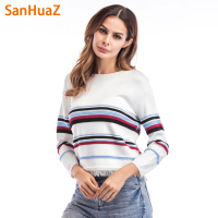 SanHuaZ Brand 2017 Winter Autumn Women S Sweaters Casual O Neck Long Sleeve Striped Tassel Women