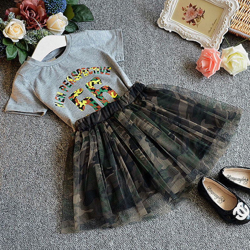 2017 Summer New Baby Girl Clothes Fashion Sleeve Shirts + Skirt Suit Camouflage Children Clothing Sets Girls Clothes 3-7 T  new 2015 summer children t shirts baby clothes child 100