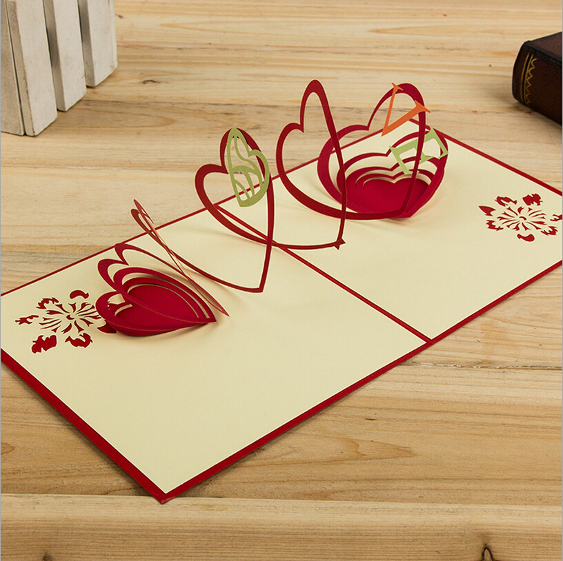 Hollow Out Heart Design Red&Green Handmade 3D Pop UP Cards ...