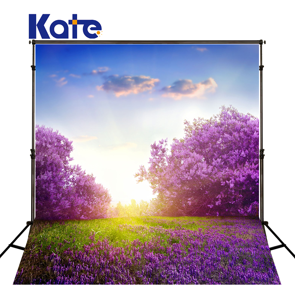 KATE Purple Flower Forest Background Spring Photography Backdrops Sunny Blue Sky and White Clouds Background Seamless Photo wedding photography background blue sky white clouds photo booth backdrops sea sunny beach background for photographic studio
