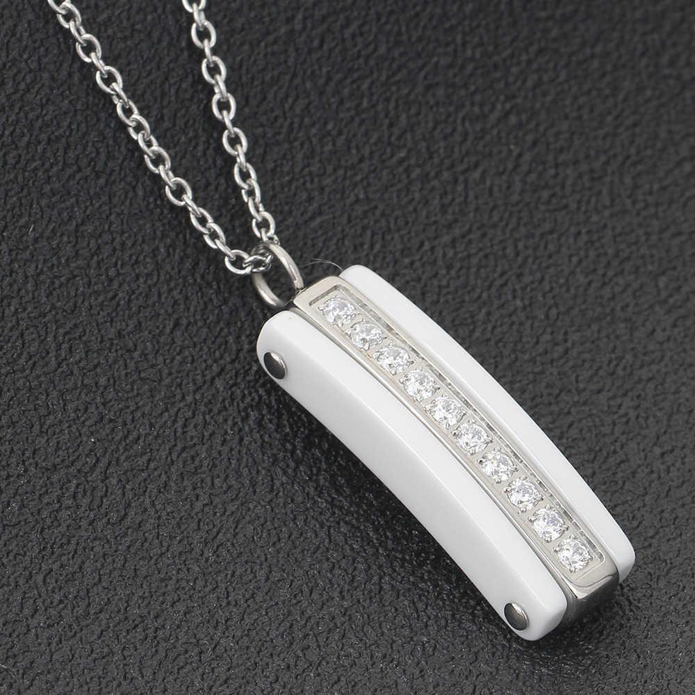 Fashion Putih Hitam Ceramic CZ Kristal Liontin Kalung untuk Wanita Kualitas Tinggi Baja Stianless Kalung Wanita Perhiasan Dekorasi