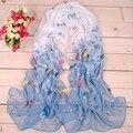 2016 новый стиль моды бабочка Шарфы женщин шарф длинный шаль весна шелковый пашмины шифон бесконечность Шифон Мягкий Длинные Wape  палантин