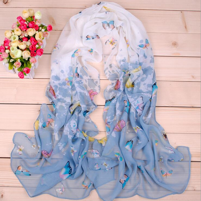 2016 new fashion style butterfly Scarves women's scarf long shawl spring silk pashmina chiffon infinity Chiffon Soft Long Wape