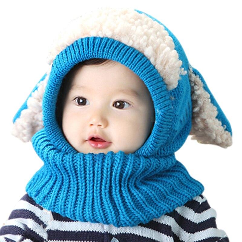 Cappello Del Bambino di inverno e Sciarpa Congiunta Con Stile Del Cane  Crochet Lavorato A Maglia Caps per I Ragazzi Infantili Ragazze Bambini  Nuovi Capretti ... e1c37461e63e