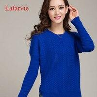 Lafarvie 2015 Autumn Winter Cashmere Sweater Women Fashion Sexy O Neck Sweater Loose 100 Wool Sweater