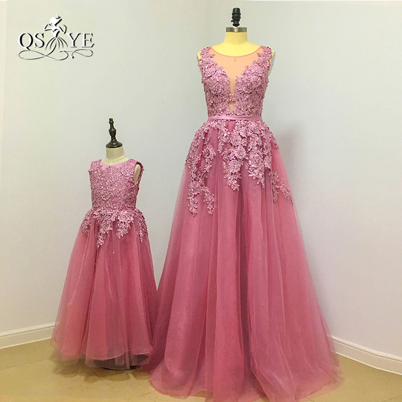 Real Photo 2017 Dusty Pink   Flower     Girl     Dress   Lovely Mother and Daughter Gown V Neck Lace Beaded Floor Length Tulle Prom Gown