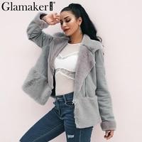 Glamaker серый уличная меховая плюшевый пиджак женская летняя Лоскутная шикарная Весенняя шуба Китай замша кожа Женская Шуба плюшевое пальто