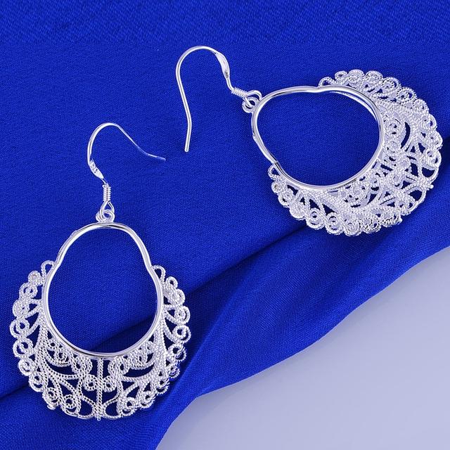925 pendientes de la plata esterlina, 925 joyería de plata, hollow brillante / chaakyha dyiamppa LQ-E328