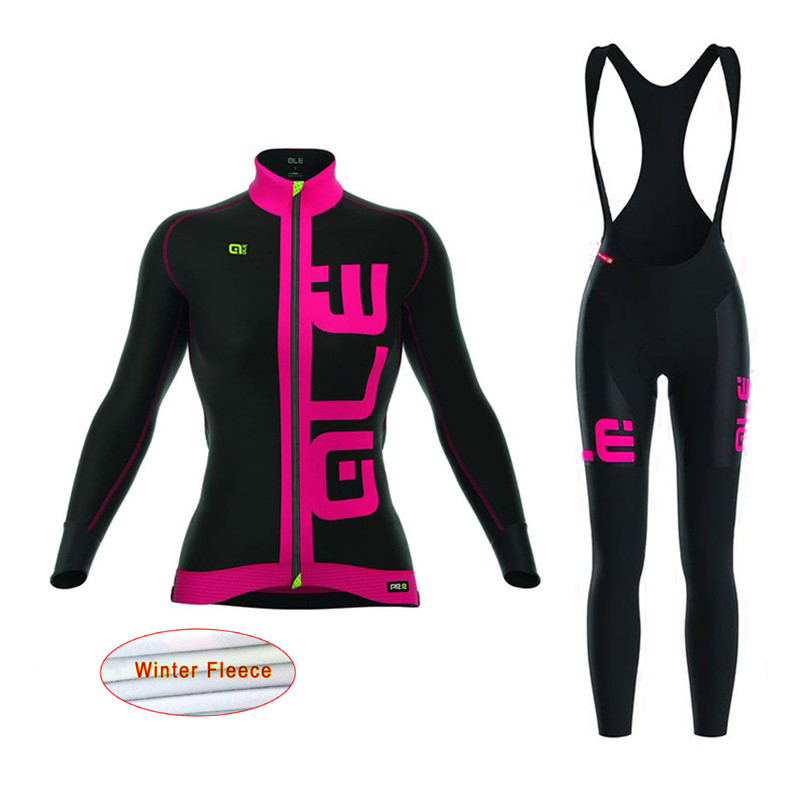 2017 ALE women Cycling Jersey Mtb Bicycle Clothing set winter thermal fleece Bike Wear sports Maillot Ropa Ciclismo Mujer E1101 pro team long sleeve cycling jersey women 2017 ropa ciclismo mujer winter fleece mountan bike wear clothing maillot cycling set