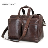 YUPINXUAN Europe Mens Genuine Leather Shoulder Bags Large Capacity Travel Bags Cow Leather Messenger Bag 17