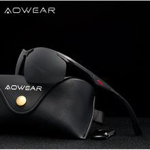 AOWEAR Men Polarized Sunglasses Male Aluminum Magnesium HD Polaroid Rimless Sun Glasses for Men Driv