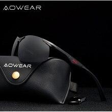 AOWEAR Men Polarized Sunglasses Male Aluminum Magnesium HD P
