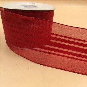Image 3 - Красная атласная лента в полоску N2123 63 мм X 25 ярдов, подарочная лента из органзы, Рождественская Проводная лента с краями
