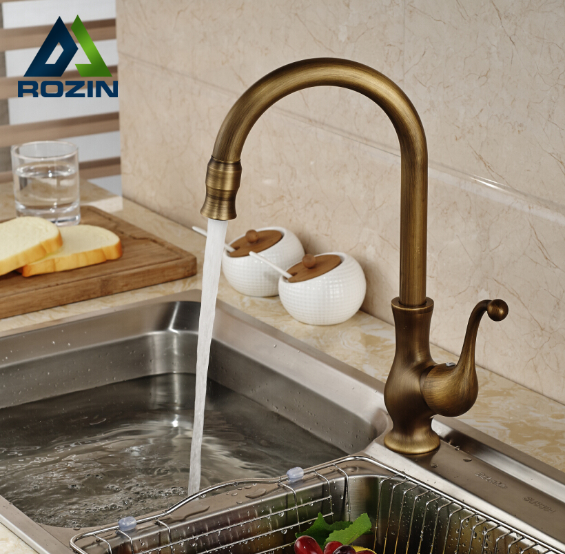 Brass Antique Single Handle Kitchen Basin Sink Faucet Tap One Hole with Hot Cold Water Mixer Taps single handle bathroom faucet basin carving tap swivel sink water tap antique brass hot and cold kitchen mixer faucet with hose