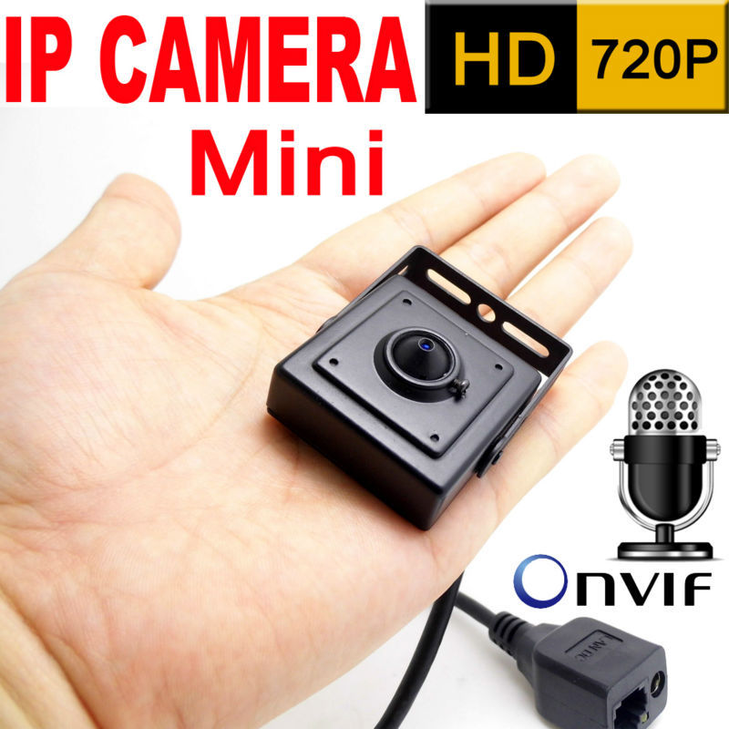 Micro 3.7mm lente mini câmera ip 720 P onvif home security sistema de vigilância cctv hd pequeno Microfone Embutido vídeo p2p cam