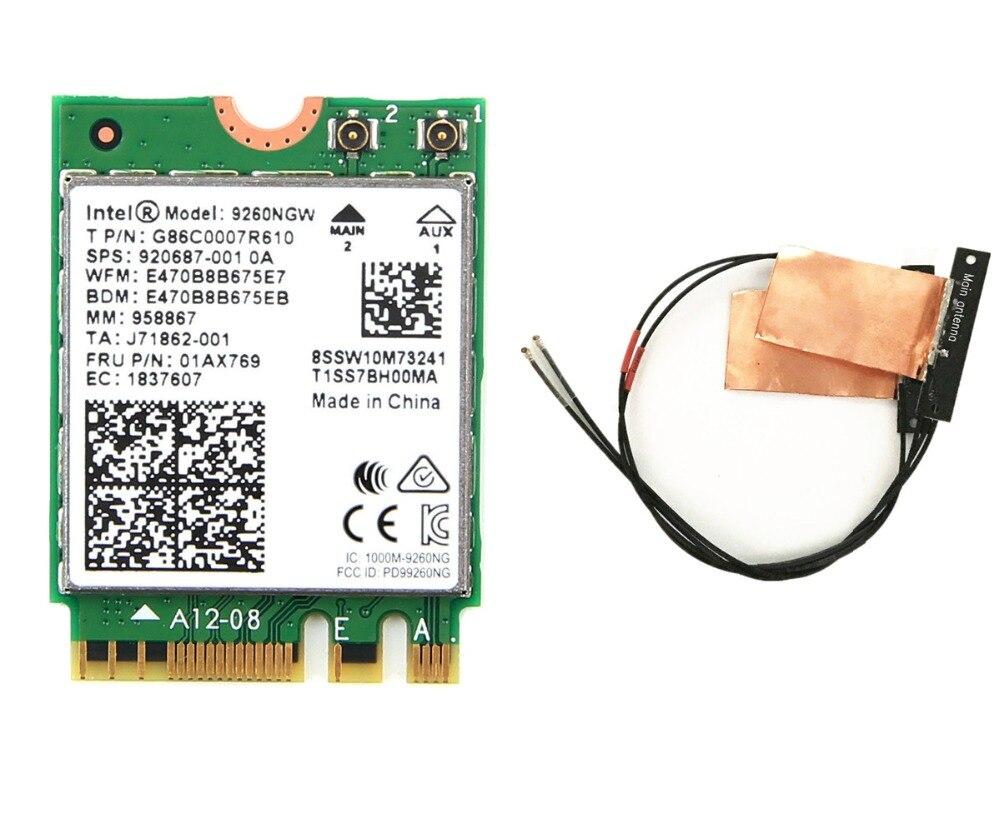 New Dual Band Wireless-AC 9260 Intel 9260NGW NGFF 1730Mbps 1.73Gbps WiFi + Bluetooth 5.0 802.11ac MU-MIMO Card Windows 10