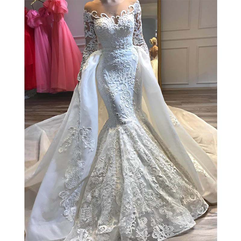Robe De Mariee 2019 Luxury Lace Mermaid Wedding Dress With Detachable Skirt Illusion Long Sleeve Wedding Gowns Plus Size