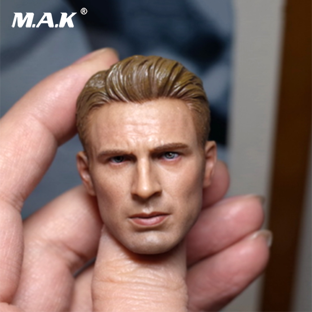 1/6 Captain America Head Carving Chris Evans Steve Roger Head Suitable For Encapsulating Muscle Body Fit TBLeague Male Body