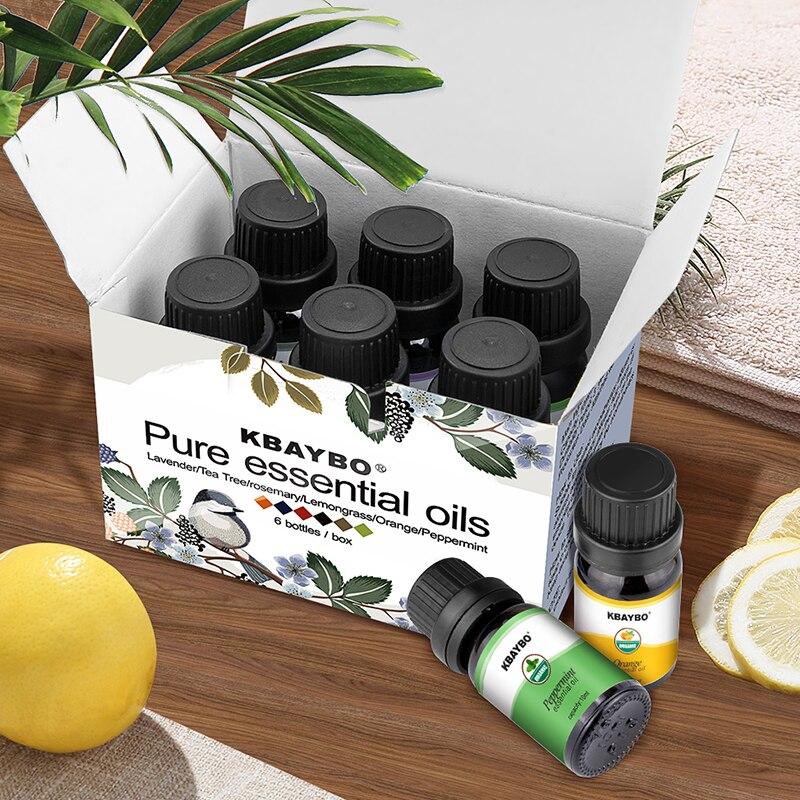 6 tipos de Óleos Essenciais Aromaterapia Óleo de aroma Difusor Umidificador Fragrância de Lavanda Da Árvore do Chá de Alecrim Capim Limão Laranja