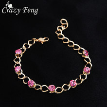 Luxury Bridal Bracelet Femme Gold Chain Color Crystal Wristband Party Jewelry Shine Rhinestone Pulseras Women Gift(China)