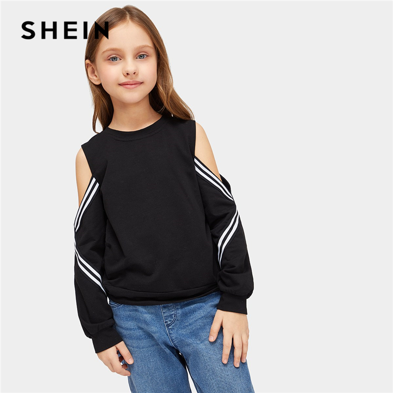 SHEIN Kiddie Black Striped Cold Shoulder Girls Sweatshirts Kids Clothing 2019 Spring Long Sleeve Pullover Kids Children Tops beige lace up design cold shoulder long sleeves dress