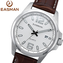 EASMAN Watches Men Vintage Brown Genuine Leather Auto Date Analog Quartz Watch Stainless Steel Wristwatches Lover