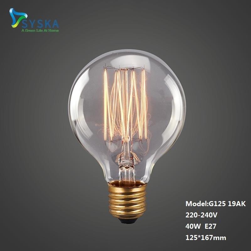 Vintage Edison Bulbs E27 40W G125 G95 G80 220V Incandescent Lamp Filament Retro Light For Pendant Lamp Decoration 201729