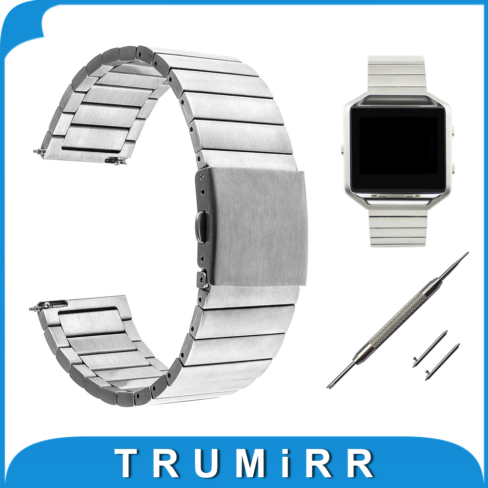 23mm Stainless Steel Watchband + Quick Release Pins for Fitbit Blaze Smart Fitness Watch Band Folding Buckle Strap Link Bracelet silicone rubber watchband for fitbit blaze smart fitness watch strap band quick release loop wrist belt bracelet black blue red