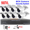 Sistema de Seguridad CCTV 900TVL 8 unids 900TVL IR Exterior Cámaras 8ch DVR Kit de Seguridad del Sistema de la Cámara D1 DVR con HDMI CCTV Cámara Conjunto