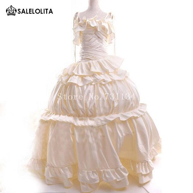 90e4338c4451e Marie Antoinette White Dresses Carnivale Theatre Performance Gown  Renaissance Medieval Tailing Victorian Queen Dress