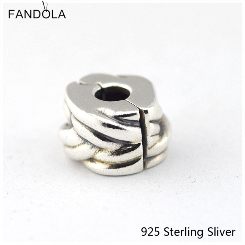 Braided Line Clip Genuine 925 Sterling Silver Fit European Fashion Style Bracelet Charm for Women DIY Jewelry Gifts