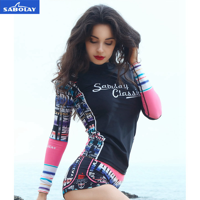 SABOLAY Women Rashguard tight Shirts sleeve surfing beach clothes garment suntan swimming dress swimsuit snorkeling water sports adidas brown ibjjf competition rashguard s br