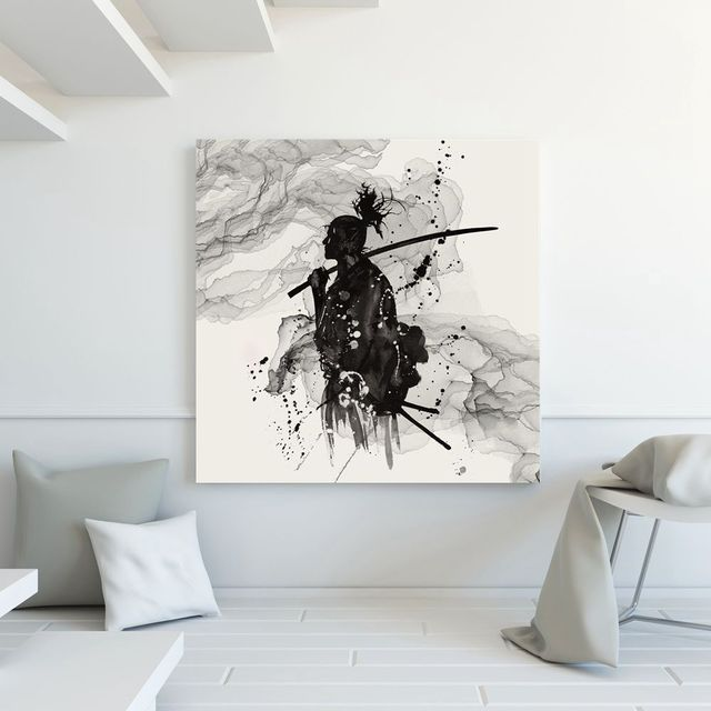 Black And White Ink Painting Japanese Samurai Painting Asian Warriors  Samurai Japan Giant Wall Art Print