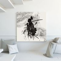 White And Black Ink Painting Japanese Samurai Cool Painting HD Print On Canvas Fashion Gift Wall