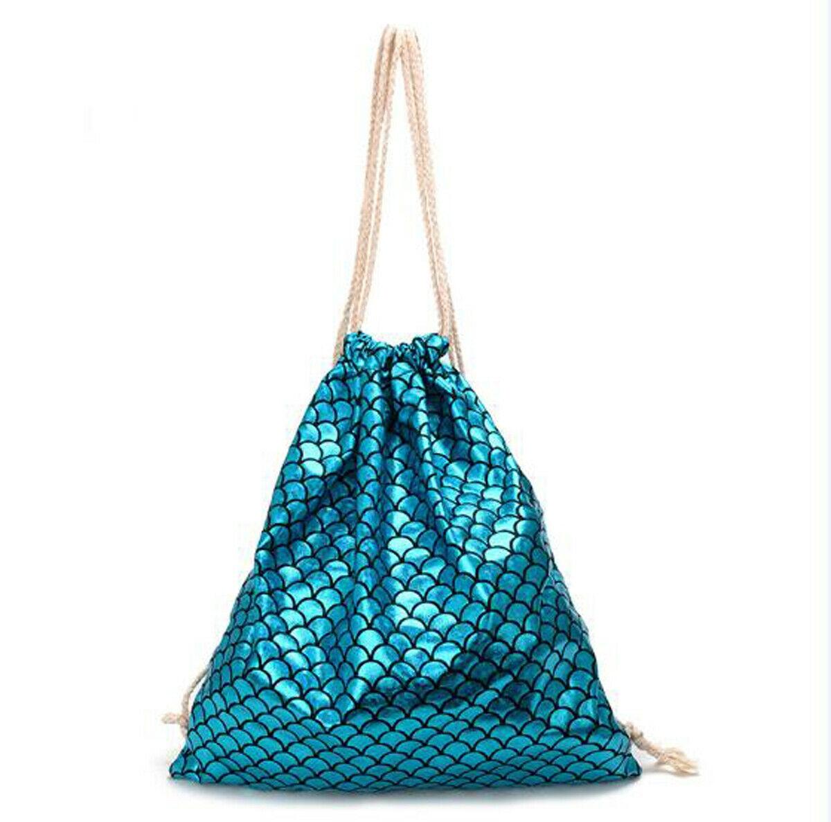 Turquoise Mermaid Scales Fashion Diagonal Single Shoulder Workout Bag
