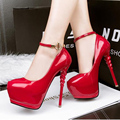 bridal shoes pink heels red wedding shoes ankle strap heels 2017 party shoes platform heels extreme high heels shoes D937