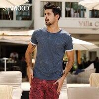 SIMWOOD 2017 Summer T Shirt Men Slim Fit Print White Dot Curl Hem Slim Fit Fashion