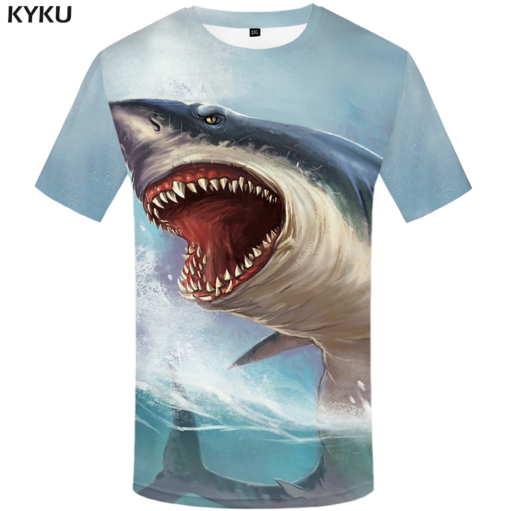 KYKU Shark T Shirt Men Sea Tshirt Punk Rock Clothes 3d T-shirt Animal Rap Hip Hop Tee Fitness Mens Clothing 2018 New Casual Tops image