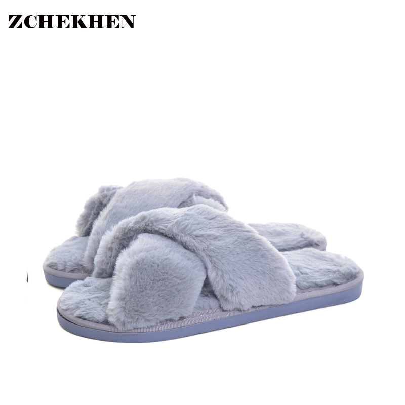 2017 Autumn Winter Plush Warm Fur Slippers Women Soft Bottom Comfortable Outdoor Indoor Floor Home Slippers Chaussure Femme soft plush big feet pattern winter slippers