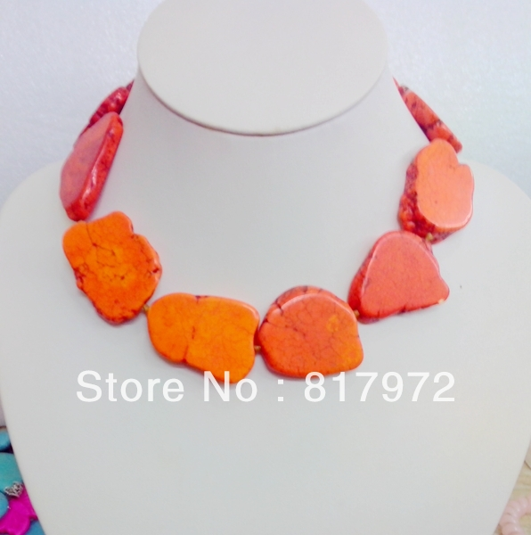 Shining Simple Style Orange stone irregular Schistose Handmake Bib Necklace Woman Party free shipping &6N00108