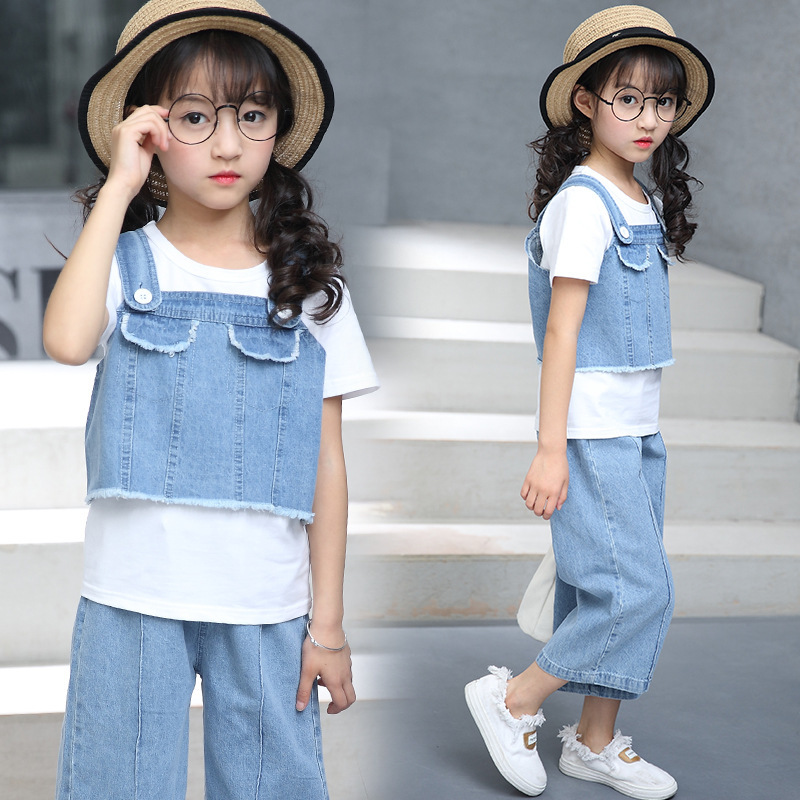 Children's Garment Girl Suit New Pattern Children Short Sleeve Camisole Wide Leg Pants Cowboy Three-piece Kids Clothing Sets autumn new product girl cowboy pearl suit children s garment single row buckle short skirt suit 2 pieces kids clothing sets