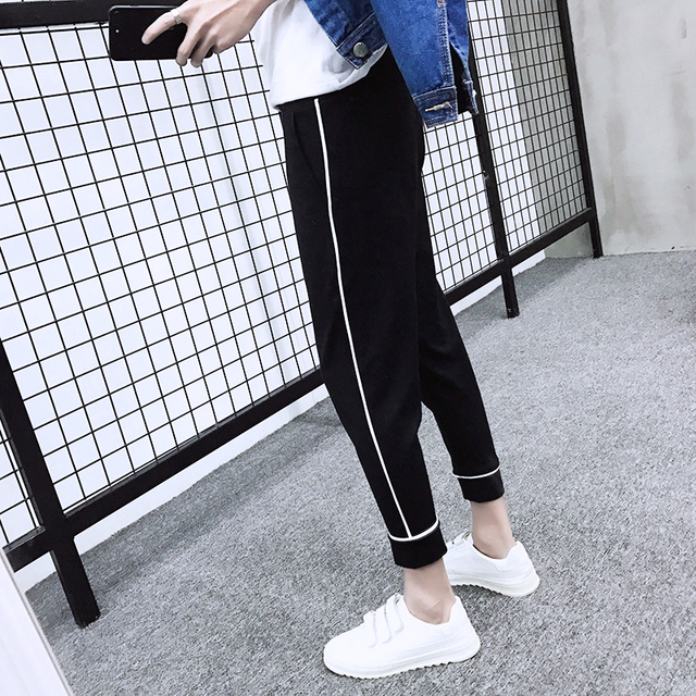 a69348c6454a Korean Style Side Stripe Harem Pants Women 2018 Summer New Hot Fashion  Female School Students Loose Trousers Pants Bottoms