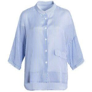 Image 5 - SuyaDream Blusa de media manga con estampado de crepé y seda, camisa a rayas para 100%, 2020