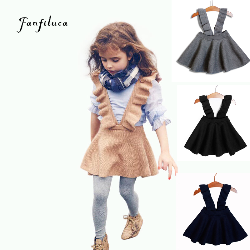 Fanfiluca Kid Girls Sweaters Dress Knitted Solid Fashion Style Kids Girls Children's Clothing 2017 New