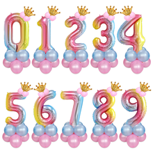 Number Balloon 32inch Birthday Party Decorations Kids Foil Balloons 13pcs Iridescent Digital