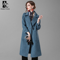 autumn winter woman outwear overcoat wool coat with pockets two buttons notched collar knee lengthe fashion loose blue wool coat