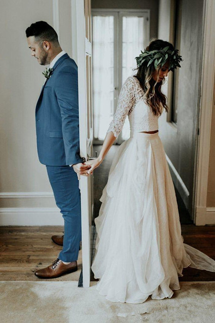 Beautiful Long Sleeve A-Line Two Pieces Beach Country Wedding Dresses 2020  Chiffon Ruffles Lace Top Boho Custom Made Bohemian 3