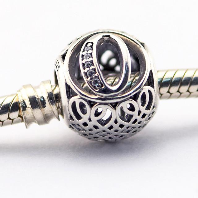 Letra o beads diy alfabeto do vintage bijuteria fit pandora encantos pulseiras jóias fazer presentes de prata 925 original para as mulheres