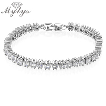 Mytys Bar Setting Crystal Bracelet new Arrival Female fashion Jewelry wedding White Gold Color B580